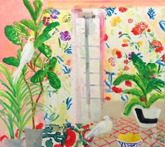 Figs and Feathers, Bright Interior with Birds, Green Plants, Colorful Flowers