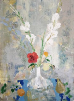 Gladiola Milk, Botanical Still Life with Red, Blue and White Flowers with Fruit