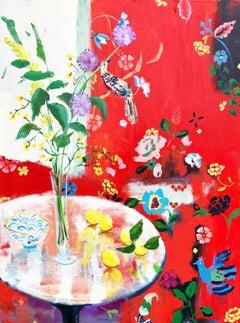 """Lady Bird""  Bright Red Matisse-like Interior of Flowers/Birds/Fruit  Blue/Pink"