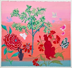 Lake on the Mountain, Red and Pink Flowers, Butterfly, Figure, Peach Background