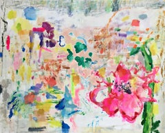 Land of the Lotus Eaters, Large Horizontal Abstract Painting in Pink, Yellow