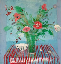 Melanie Parke, Red Stripe, impressionist floral still life oil painting, 2019