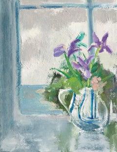 Melanie Parke, Spring Shore Still, impressionist floral still life painting