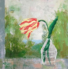 Melanie Parke, Sunday Tulip, impressionist oil on canvas floral still life, 2019