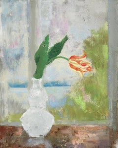 Melanie Parke, Tulip Flame, impressionist oil on canvas floral still life, 2019