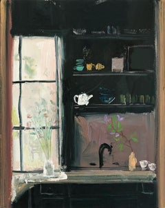 Morning Stems, impressionist interior and still life painting