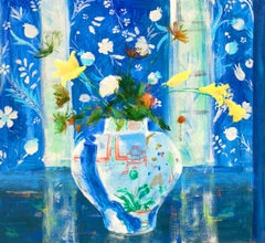 Nicaea, Interior Painting, Botanical Still Life, China Vase, Flowers, Blue Room
