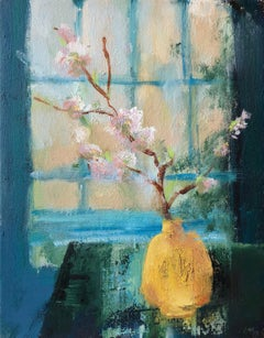 Night Blossoms, Still Life with Pink Cherry Blossom Flowers and Blue Window