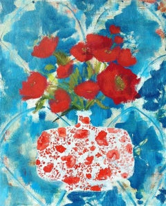 Night Linen, Botanical Still Life with Red Flowers in Vase with Blue Background