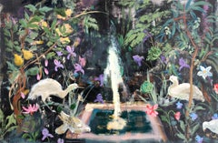 Notte, Horizontal Painting, Egret Birds, Fountain, Flowers, Green Leaves, Fruits