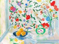 """""""Orange Plate"""" Matisse-like Still Life of Lemons/Bird, Flowers/Floral Wallpaper"""