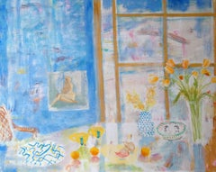 Paule's Table, Interior Painting, Blue Dining Room with Yellow Tulips and Fruits