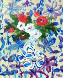 Phyllis Vase, Botanical Still Life of Red, White Flowers in Blue Patterned Vase