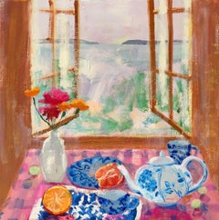 Pink Gingham, impressionist interior and still life painting