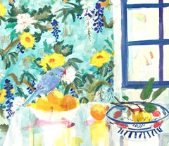 """Quince Bowl""  Colorful Matisse-like interior/still life, birds, fruit, flowers"