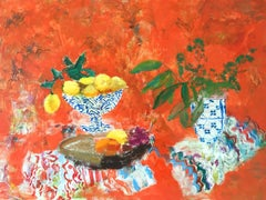 Red Fiesta, Bright Orange, Red Still Life of Lemons and Blue and White Vase
