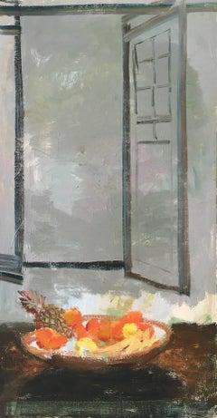 Rustic Window, Fruit Still Life in Interior Scene in Gray, Brown, Yellow, Orange