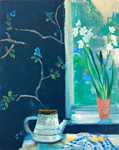 Spring Bulbs impressionist interior and still life painting
