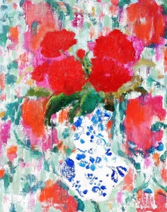Suzani and Zinnias, Botanical Still Life with Red Flowers in Blue and White Vase