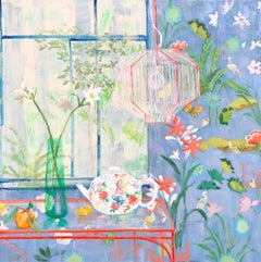 Swan Tea, Interior Painting, Botanical Still Life with Teapot, Butterfly, Lilies