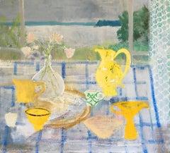 Swan Vase, Interior Painting, Botanical Still Life, Lake Landscape Yellow Teacup