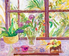The Flower of My Secret, Interior Painting with Botanical Still Life, Fruits