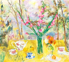 The Philosophy of Tea, Botanical Still Life with Teacups in Yellow, Pink, Green