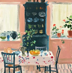 Tin Glazed, pink and green still life painting oil on canvas