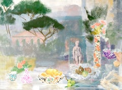 Torcello Postcard, Still Life with Fruit Bowls and Flowers, Figure and Trees