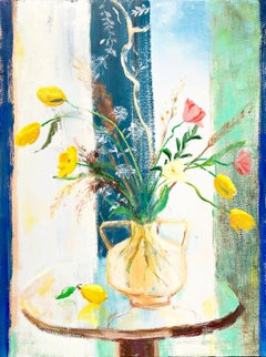"""""""Tulip Band""""  Matisse-like Still Life/Interior of Tulips in Glass against Window"""