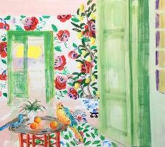 """Way to the Lemon Grove"" Matisse-like Interior Birds/Flowers PinkGreenBlueOrange"