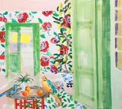 """Way to the Lemon Grove""  Matisse-like interior/still life, flowers, bird, fruit"