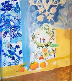 Yellow Soringtime, Interior Painting in Bright Yellow and Blue with Orange Fruit