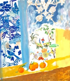"""Yellow Spring""  Bright colorful, Matisse-like, interior/still life, fruit, bird"