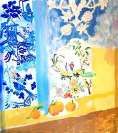 """Yellow Spring""  Matisse-like Interior of Blue Chinoiserie/ Orange/Flower/Fruit"