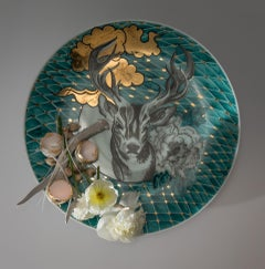 Plate with Antler, Flowers, Egg Shells, Onions and Fish