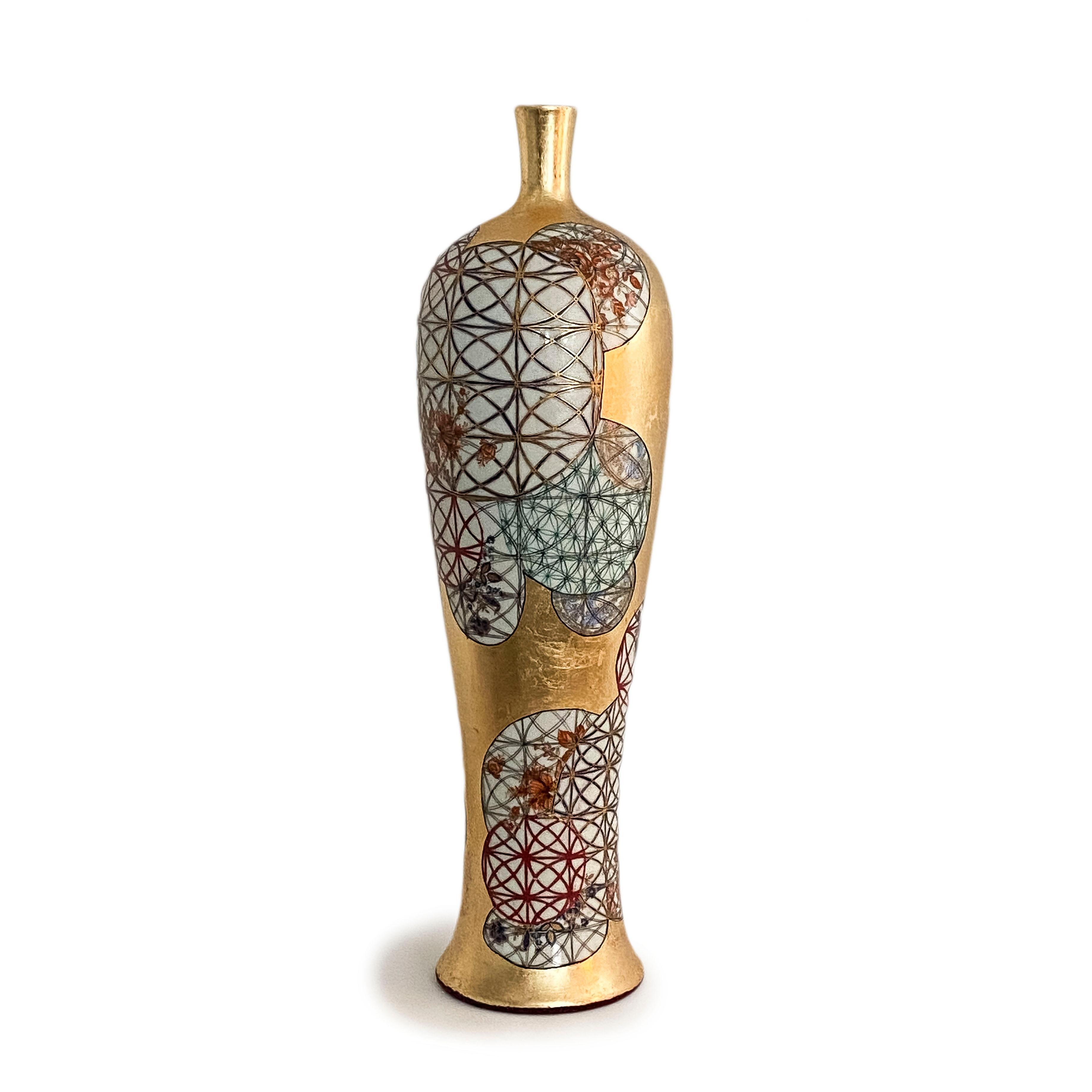 "Melanie Sherman - ""Kreisel"" Gold Leaf Porcelain Vase"