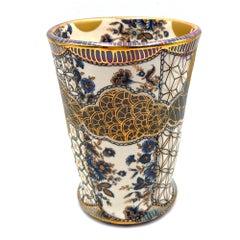 """Tea Bowl """"Tu Me Connais VIII"""" (Yunomi, Blue Vintage Flowers, Gold Luster Lip)"""