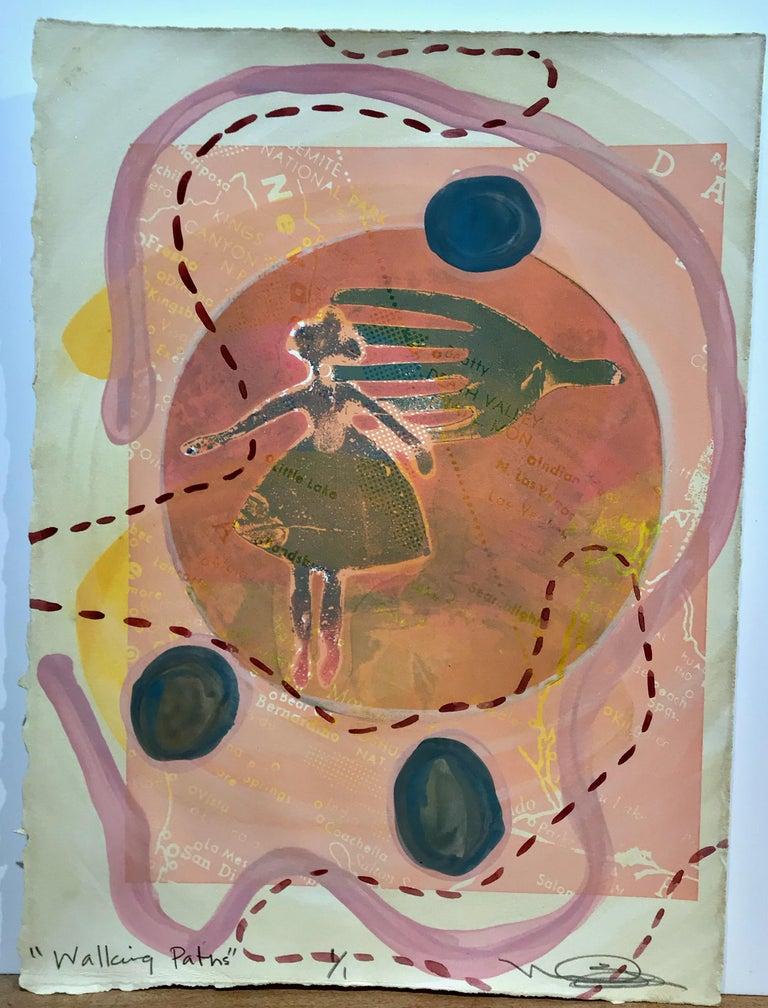 Walking Paths, Melanie Yazzie mixed media paper pollinator orange peach green For Sale 1