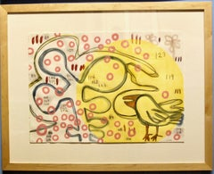 You Are In My Heart, Melanie Yazzie mixed media paper yellow pink bird circles