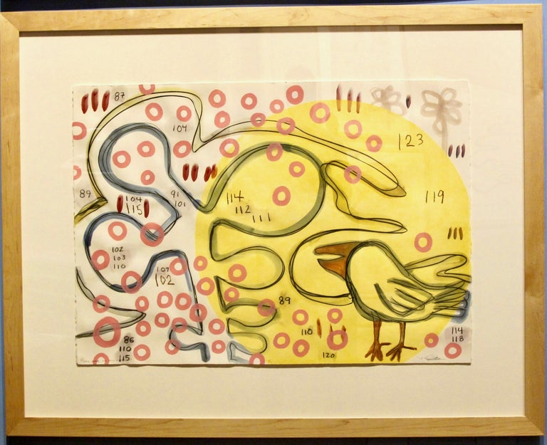 You Are In My Heart, Melanie Yazzie mixed media paper yellow pink bird circles - Art by Melanie Yazzie