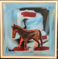 Around Five, horse painting by Melanie Yazzie, blue, red, black, abstract, white