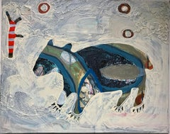 Bear Walking With Me, mixed media painting by Melanie Yazzie, animal, texture