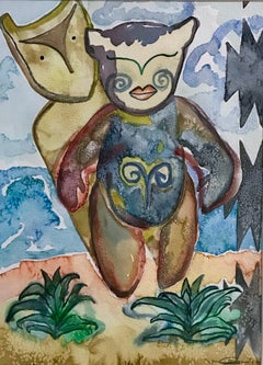 Bulava, painting by Melanie Yazzie, gouache, watercolor, blue, white, brown