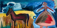 Friends, Melanie Yazzie painting woman horse landscape red blue brown yellow