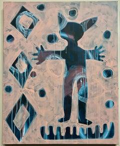 He is With Me, painting by Melanie Yazzie, pink, black, animal, man, Navajo