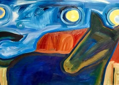 Moonlight, Melanie Yazzie horse oil painting red blue green yellow Mesa moon