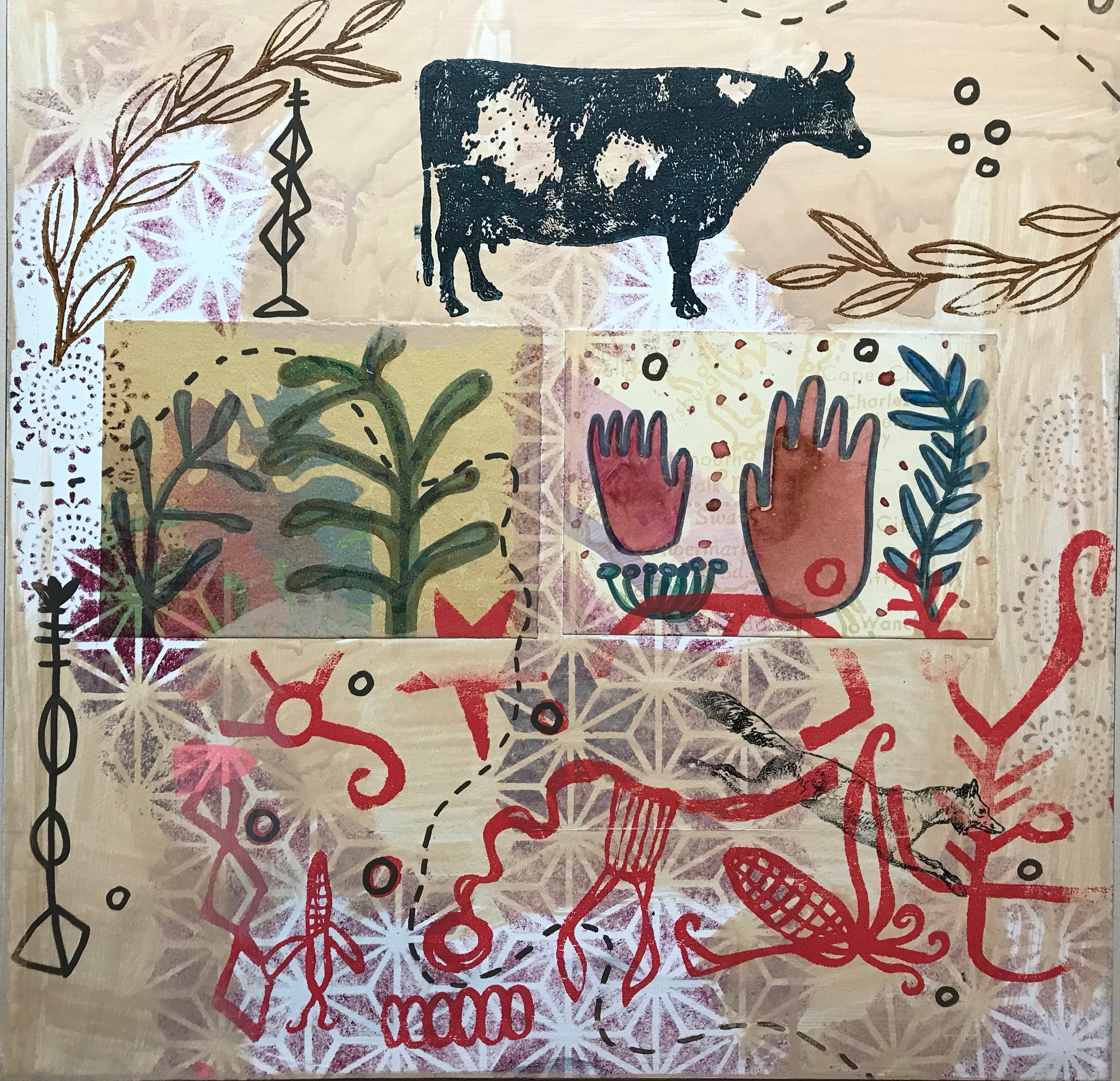 Outside/In, painting by Melanie Yazzie, contemporary, Navajo, cow, plants, hands