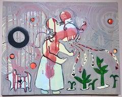 Pray, Talk to Them painting by Melanie Yazzie, acrylic on canvas, woman with dog