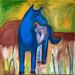 Quiet, oil on canvas painting horse green yellow orange brown red Melanie Yazzie